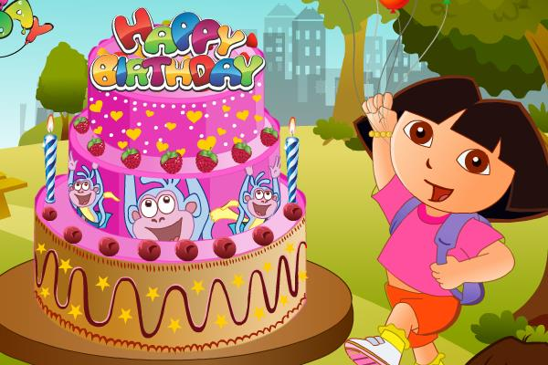 Decorate Boots Birthday Cake in this Fun Dora the Explorer Game